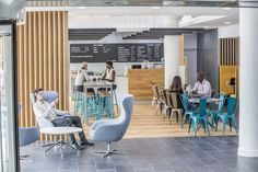 Woodhouse removed the original marketing suite of Ashton House and inserted a café in lieu, creating one large open space combined with the reception, building on volume and light. Cafe House, New City, Minimal Design, Being A Landlord, Minimalism, The Originals, Architecture, Building, Rid