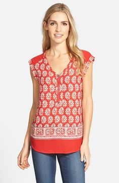 Pleione Zip V-Neck Woven Top available at #Nordstrom Like the print and color, not so much the zipper
