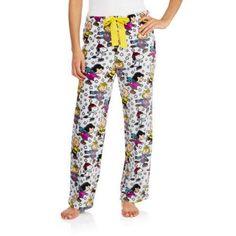 Peanuts Women's License Pajama Super Minky Plush Fleece Sleep Pant (Sizes S-3XL), Size: 2XL, White