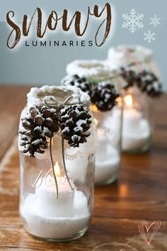 Make pretty winter luminaries that appear to be covered with freshly fallen snow! Oh so gorgeous and perfect for the holidays, they are very easy to make. #craftsbyamanda #luminaries Home Crafts, Fun Crafts, Diy And Crafts, Crafts For Kids, Creative Crafts, Decor Crafts, Christmas Centerpieces, Christmas Decorations, House Decorations