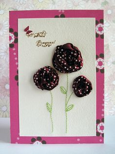 diy birthday card ideas | Homemade birthday card with textile roses - Handmade Cards 2012 -2013 ...
