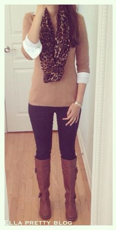 Ella Pretty: Leopard Scarf, Camel Sweater, Black Jeans & Tan Boots - cute outfit & perfect for work! Style Work, Mode Style, Office Style, Mode Outfits, Casual Outfits, Fashion Outfits, Fashion Weeks, Fashion Boots, Casual Shoes