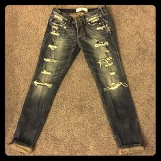 CLOSET CLEAROUT SALE!! Ripped jeans Straight leg/slim fit ripped hollister jeans. Size 3. Dark wash. Perfect condition. Bought these on here and they're a little too small. I'm extremely sad about it. Hollister Jeans