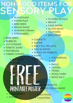 50 Different Non-Food Items Perfect for Rich Sensory Play in the classroom or at home Sensory Tubs, Sensory Boxes, Sensory Diet, Sensory Activities, Sensory Play, Toddler Activities, Therapy Activities, Therapy Ideas, Pop Beads