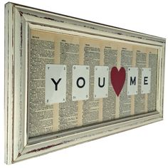 Valentines Gift - You Heart Me Vintage Dictionary & Playing Card Art Work