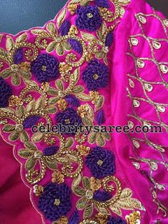Spring work blouse designs, Saree blouse designs and Latest blouse designs are readily available here to give an idea about what should be a part of your next attire. Best Blouse Designs, Simple Blouse Designs, Saree Blouse Neck Designs, Bridal Blouse Designs, Blouse Patterns, Embroidery Neck Designs, Hand Work Embroidery, Aari Embroidery, Maggam Work Designs