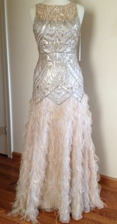 Sue Wong Gatsby Sequin Embellished Feather Wedding Bridal Prom Ball Gown Dress 4 | eBay