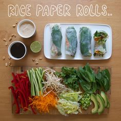 Rice-Paper-Rolls: Make with avocado, coriander, mint, carrot, cucumber, sprouts and Spanish onion. Dip into a peanut hoisin sauce. Yum!