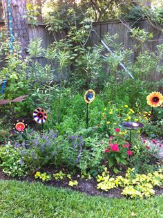 butterfly garden with Glass flowers.
