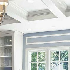 coffered ceiling made of wood frame, drywall and crown molding. DIY kit for 12x15 foot area for $2,500