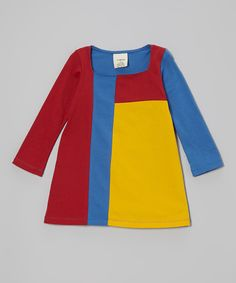 Take a look at this YuMiChi Kids Red & Yellow Organic Mondrian Dress - Toddler & Girls on zulily today!