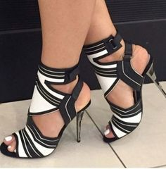 Sexy High Heel Sandals Thin Heel Black and White Gladiator Shoes