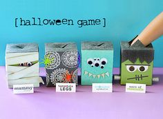 halloween game from lisa storms,  Monster Eyeballs, peeled grapes.  Ears of Frankenstein, dried apricots.  Tarantula Legs, pipe cleaners  Mummy Toes, baby carrots wrapped in gauze  LOVE IT!