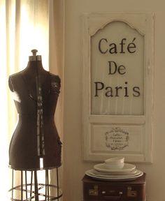 Cute! At: The Decorating Diaries: Cafe De Paris Cabinet Door