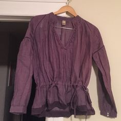 Free People Blouse Adorable blouse. Ties at waist. Free People Tops Blouses