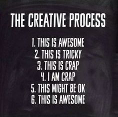 took the words right out of my head & mouth! The Creative Process - Embracing Change.although times it stops at I'm crap haha Great Quotes, Me Quotes, Motivational Quotes, Inspirational Quotes, Great Sayings, Music Quotes, Wisdom Quotes, Funny Quotes, The Words