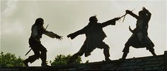 Dead Man's Chest. Jack, James, and Will in the most ridiculous and amazing swordfight in cinematic history.