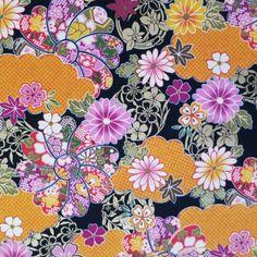 Tissu japonais orange noir doré motifs de fleurs