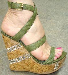 Violet Tash Cinderella Cork Wedge in green Ankle Strap Wedges, Wedge Sandals, Gorgeous Heels, Hot Heels, Women's Feet, Stiletto Heels, Fashion Shoes, Dancers Feet, Cork Wedges
