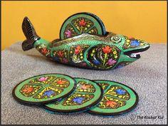 Duck shaped, Papier Mache Coaster Set