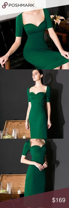 Emerald Green Sweetheart Neckline Midi Dress This is such a beautiful formal dress. It's style and cut carries a sophisticated and luxurious air. Size but with fit an M as well. I am open to offers. Masked Queen Dresses Midi