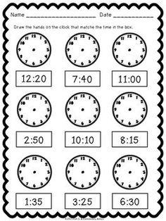Telling Time Pack {Worksheets, Game & Task Cards} by Kim Solis 3rd Grade Math Worksheets, Preschool Worksheets, Second Grade Math, Teaching Math, Learning Activities, Time Activities, Math Lessons, Spanish Lessons, Learning Spanish