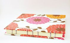 Handbound Blank Book Notebook - Pink & Orange Large Flowers - Journal Bound with a Coptic Stitch. $41.00