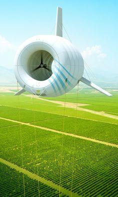 Airborne Wind Turbine Visualizations on Behance Renewable Energy, Solar Energy, Seconde Chance, Sustainable Energy, Wind Power, Energy Technology, Transportation Design, Alternative Energy, Windmill