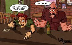 Aran Ryan & Soda Popinski getting drunk. Punch Out, Getting Drunk, Soda, Comic Books, Guys, Comics, Beverage, Drawing Cartoons, Sodas