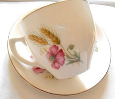 Alfred Meakin England Art Deco bone china cream pink Poppies cup saucer duo vgc #AlfredMeakin