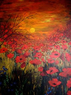 Poppy Field Painting Oil Original  Ready To by ArtonlineGallery, via Etsy.