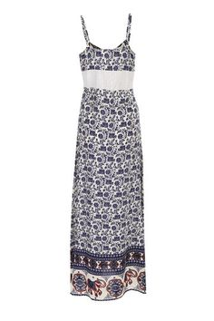 Floral Print Lace Detail Slip Maxi Dress from mobile - US$19.95 -YOINS