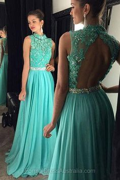 Long Formal Dresses Green, Open Back Formal Dress 2018, High Neck Evening Dresses, Tulle Party Dresses Cheap