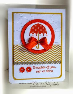 Stamps:  Rain or Shine Paper:  Tangelo Twist, Hello Honey, Crumb Cake, Whisper White, In Color DSP Ink: Tangelo Twist, Hello Honey Accessories: rhinestones, satin ribbon Tools:  Big Shot, Cloudy Day EF, hearts border punch