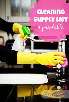 "I have favorite cleaning supplies that I've used for years. (Let's call them ""classic cleaners."") I keep a list inside the cabinet in my cleaning closet inside a plastic sleeve. I use a dry erase marker to mark when I'm out of something, then I check it as I'm putting together my shopping list."