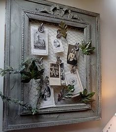 Pin it; old frame painted; chicken wire back of frame; metal clips to hold ephemera