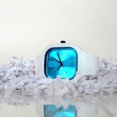 This icy blue and polar white watch will keep you cool this summer.