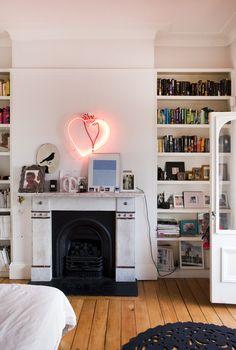 <3 fireplace/ floor/ bookshelves - Photo by Jason Busch for The Design Files
