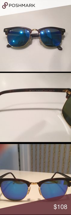 Rayban sunglasses Authentic clubmaster Raybans with blue reflective lenses!! Worn only a few times!! In excellent condition. Ray-Ban Accessories Sunglasses
