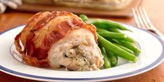 Receta Rollitos de pollo envueltas en tocino rellenas de setas y queso suizo