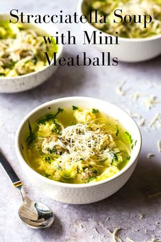 An easy to make recipe for Italian Stracciatella Soup with Mini Meatballs. This homemade egg drop soup is a favourite comforting soup from my childhood.