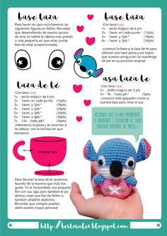 Stitch tea time patron gratuito Crochet Patterns Amigurumi, Amigurumi Doll, Crochet Toys, Crochet Stitches, Turtle Pattern, Amigurumi Tutorial, Crochet Gratis, Lilo And Stitch, Love Crochet