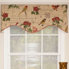 "Song Bird Blossom 50"" Cornice Curtain Valance"