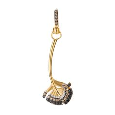 Mythology Falcon Feather amulet in 18ct yellow gold, brown and black diamond.