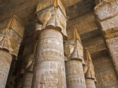 The Temple of Hathor at Dendera, on the Nile north of Luxor, is one of the latest Egyptian temples. Dedicated to the wife of the god Horus, it was built in the Roman times and its decorations include Roman emperors alongside Egyptian gods. #Luxor #Egypt #Travel