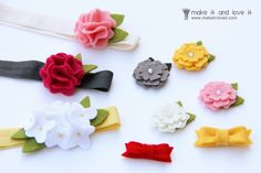Felt is so easy to manipulate!  Use your flowers as hair clips, pins for a drab sweater or clip on to a pair of flats for fun