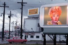 Billboard advertising Lucille Ball's The Lucy Show, Georgia, United States, 1964, photograph by Fred Herzog.
