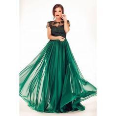 Rochie de seara, verde, dantela si voal