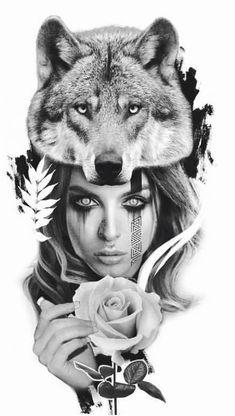 Indian Tattoo Design, Wolf Tattoo Design, Tattoo Designs, Wolf Girl Tattoos, Tattoos For Guys, Rune Tattoo, Arm Tattoo, Tattoo Sketches, Tattoo Drawings