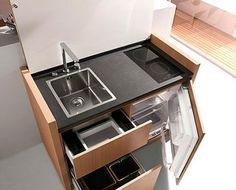 Small kitchen design, space saving modern kitchen cabinet from kitchoo micro cozinha, stove, Micro Kitchen, Compact Kitchen, Kitchen Small, Smart Kitchen, Kitchen Ideas, Kitchen Storage, Camping Kitchen, Kitchen Modern, Minimalist Kitchen